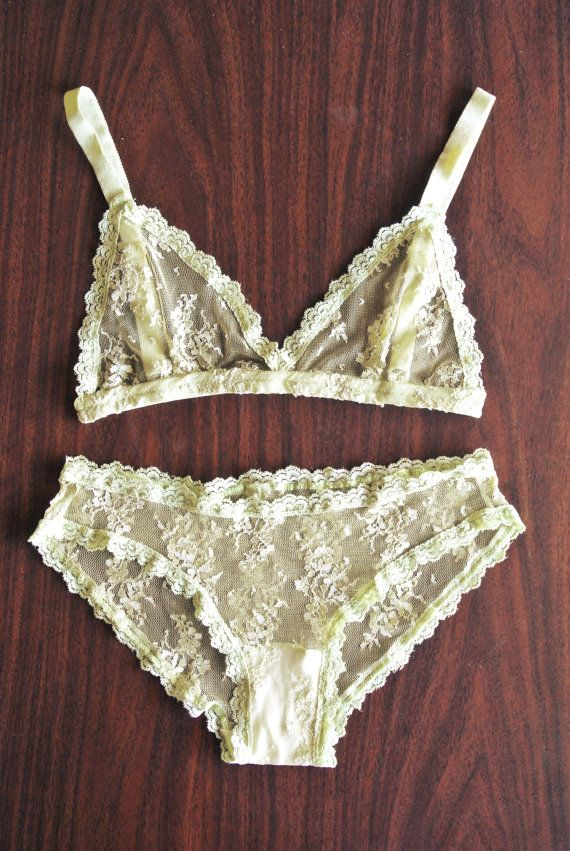Yellow Lace Lingerie set by inrin on Etsy