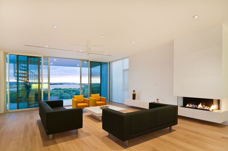 Modern gas fireplace in contemporary new custom built home