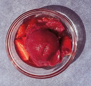 Red Wine Sorbet with crushed strawberries for two feasts of love: The Sacred Heart of Jesus and Immaculate Heart of Mary. A moveable Feast: the Friday and Saturday after the Feast of Corpus Christi.