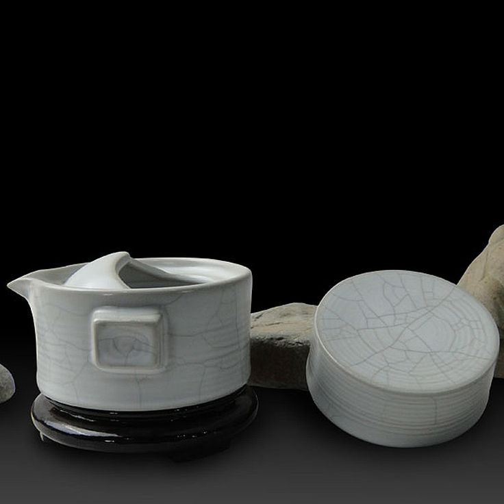 Mr.Zhang-Ru Kiln Quick Tea Set-Millstone-Moonlight White - Portable Tea Set - Teaware Enjoy / Slow / Green