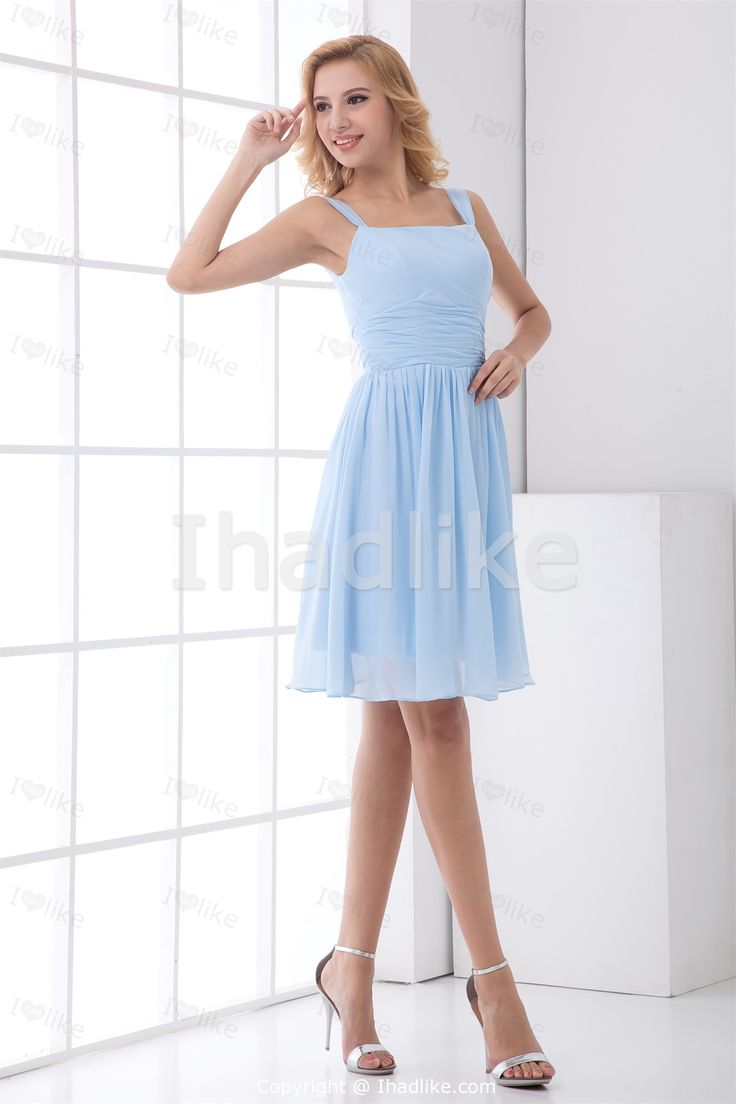 Light Sky Blue Short/ Mini Chiffon Square Petite Bridesmaid Dresses 2014 003