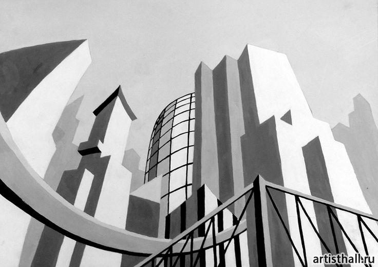 Варианты выполнения задания Мегаполис - 1 #art #design #draw #композиция #графика #мегаполис #artworkshop #artisthall
