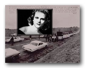 Viola Liuzzo, mother of five from Detroit, was shot and killed while driving a young black activist, Leroy Moton, back to the town of Selma, Alabama following a protest march to the state capital of Montgomery on March 25, 1965. She was driving the white car near the bottom of the photo when a car pulled alongside hers and shot her twice in the head. Mr. Moton was unhurt. An all-white jury convicted 3 KK Klansmen of the murder Dec 3, 1965.