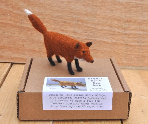 Needle Felt Fox Kit - DIY Craft Kit etsy
