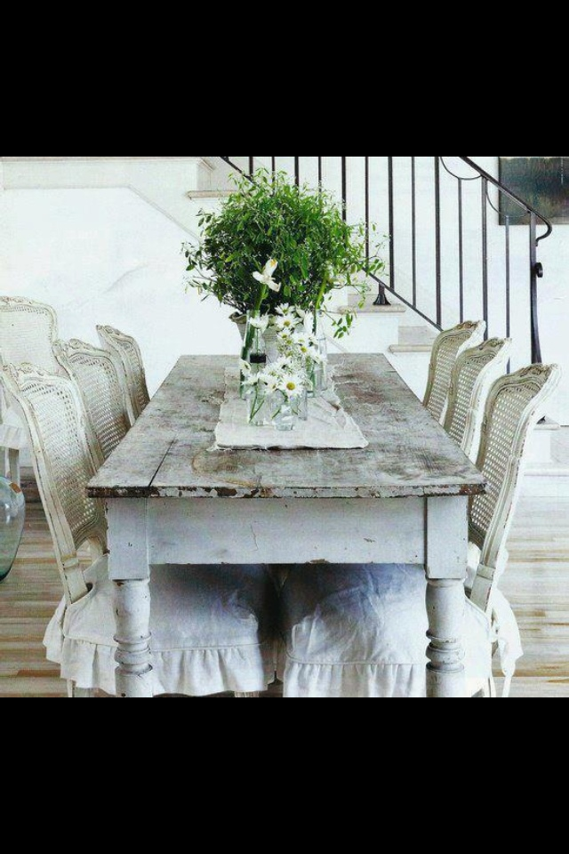 Cottage dining room Slipcovered chairs harvest table  : 9a8fc36bd3a5234ef7620642b348a9cf from www.pinterest.com size 640 x 960 jpeg 174kB