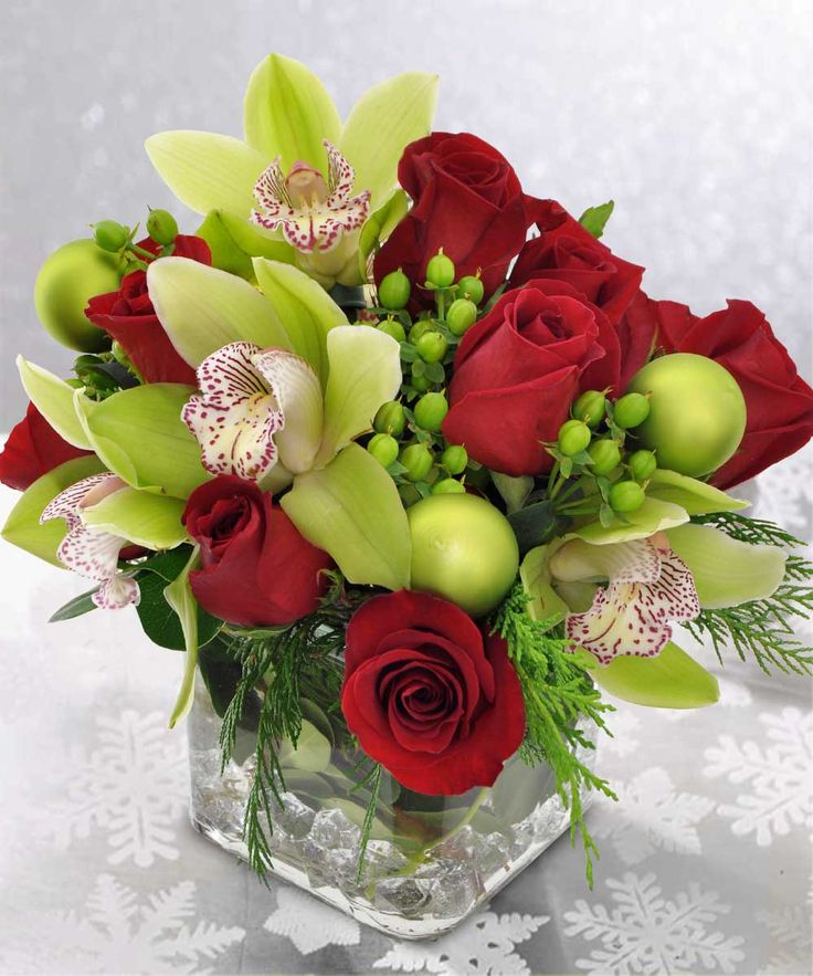 Orchids and roses by the painted daisy highland utah Christmas orchid arrangements