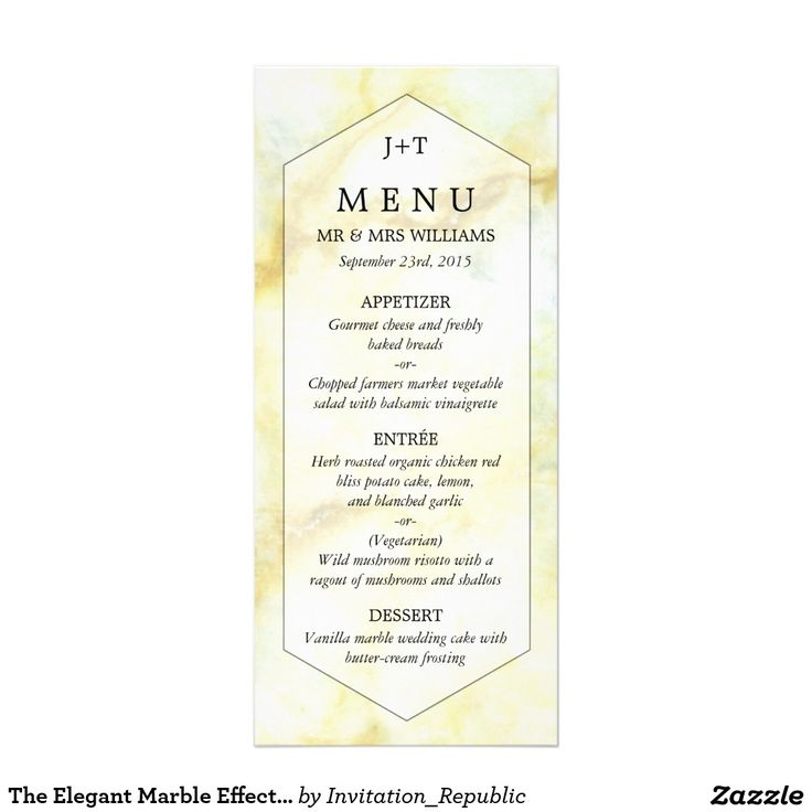 The Elegant Marble Effect Wedding Collection Menu