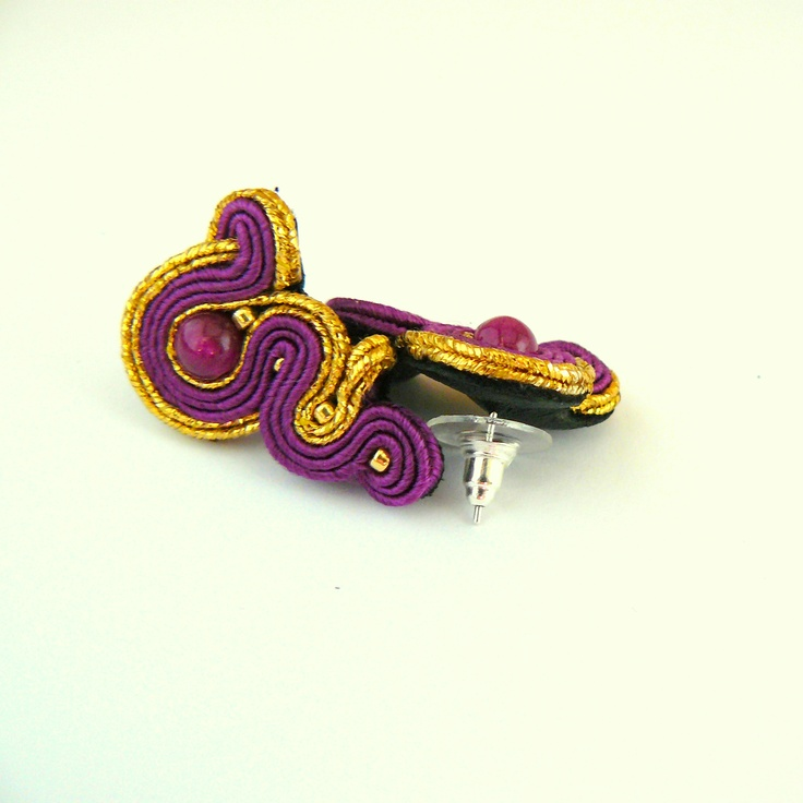 fuchsia and gold, soutache earrings