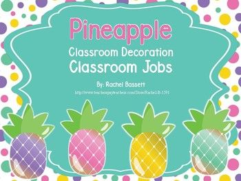 "This is a set of 32 classroom jobs in a cute Pineapple theme. Included in the set are also 10 blank cards so you can write in your own jobs. Also included is a heading card that says, ""Classroom Jobs"".The Classroom Jobs set includes the following helpers:*Paper Helper*Messenger*Calendar Helper*Line Leader*Back Line Captain*Door Holder*Librarian*Technology Helper*Light Tech*Pet Helper*Phone Monitor *Plant Helper*Recycler*Classroom Monitor*Sweeper*Table Cleaner*Trash Helper*Weather…"
