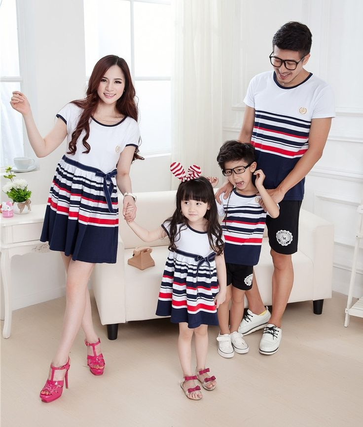 Striped family clothing Parent-Child set clothes for father and son one-piece dress for mother and daughter, BER068
