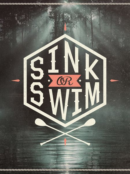 SINK OR SWIM Art Print by Wesley Bird  interesting treatment; sink or swim on a hexagram.