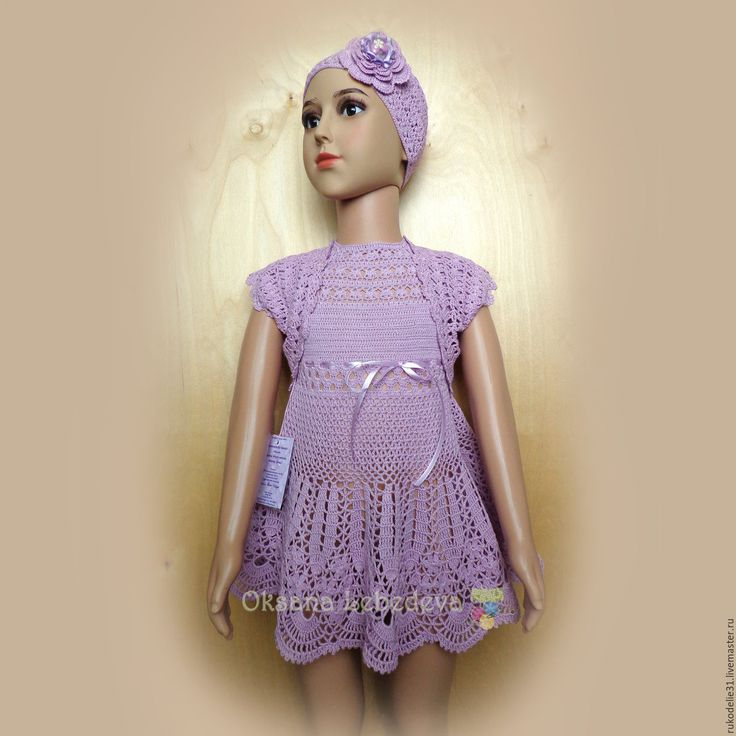 Купить Платье болеро панамка вязаное крючком из хлопка сирень лаванда - платье вязаное крючком