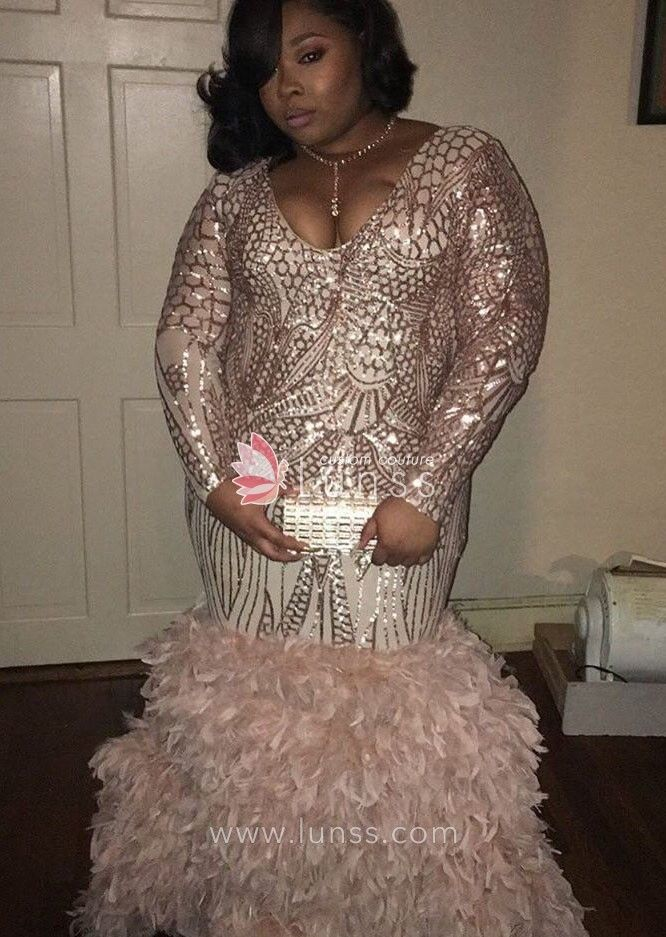 5c182338 pearl pink long sleeve geometric pattern sequin mermaid plus size prom dress