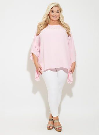 Gemma Collins Pink Hollywood Diamante Kaftan Top