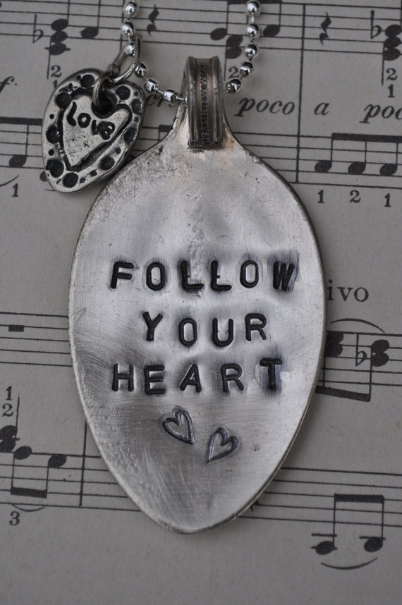 Follow Your Heart  Stamped Spoon Necklace by grassybranchfarm, $18.00