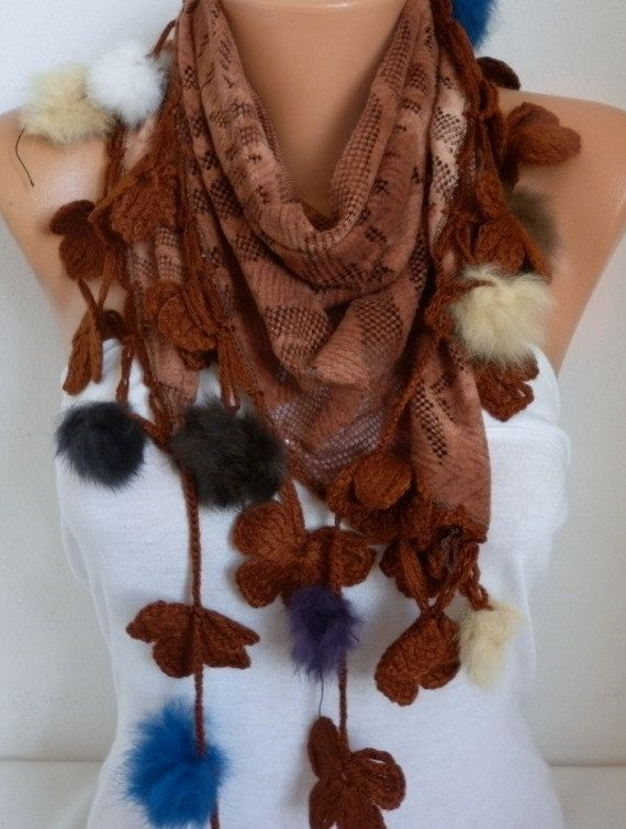 Earth Tones  Brown Scarf  Fringe Scarf Cowl Scarf by por fatwoman