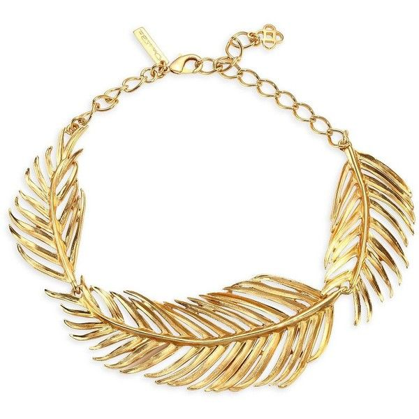 Oscar de la Renta Palm Leaf Collar Necklace ($475) ❤ liked on Polyvore featuring jewelry, necklaces, oscar de la renta necklace, gold tone necklace, lobster clasp necklace, oscar de la renta and gold tone jewelry
