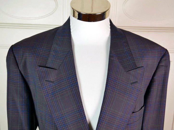 French Vintage 1980s Purple Plaid Blazer, Double-Breasted Deep Purple Jacket, Pierre Cardin Sport Coat, Peaked Collar Blazer: Size 44 US/UK by YouLookAmazing on Etsy