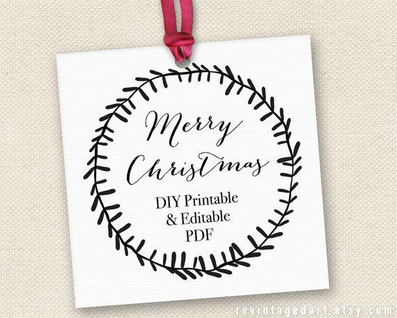 Printable Merry Christmas Gift Tags // Editable Christmas ...