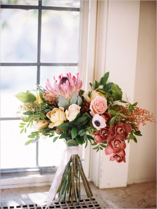 Orchid rose and protea bouquet. Floral Design: Ever Something Event Styling ---> http://www.weddingchicks.com/2014/05/23/beauty-love-bouquet-recipe/