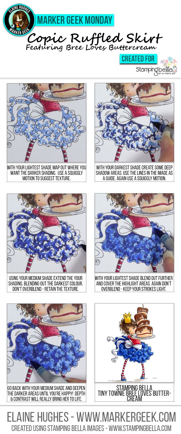 Copic Colouring a Ruffled Skirt by Marker Geek ft Stamping Bella Tiny Townie Bree. Click through to read the article, get Copic marker colour info and watch a video!
