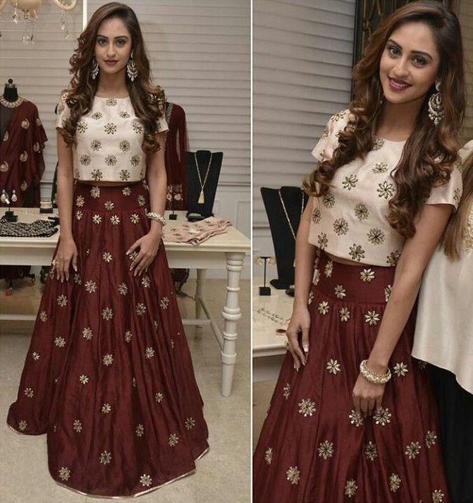 Krystle D'Souza Bhagalpuri Silk Thread Work Maroon Semi Stitched Bollywood Designer Lehenga - A750 at Rs 1249