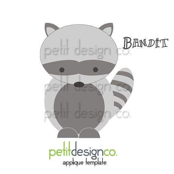 Bandit Applique Template - immediate download