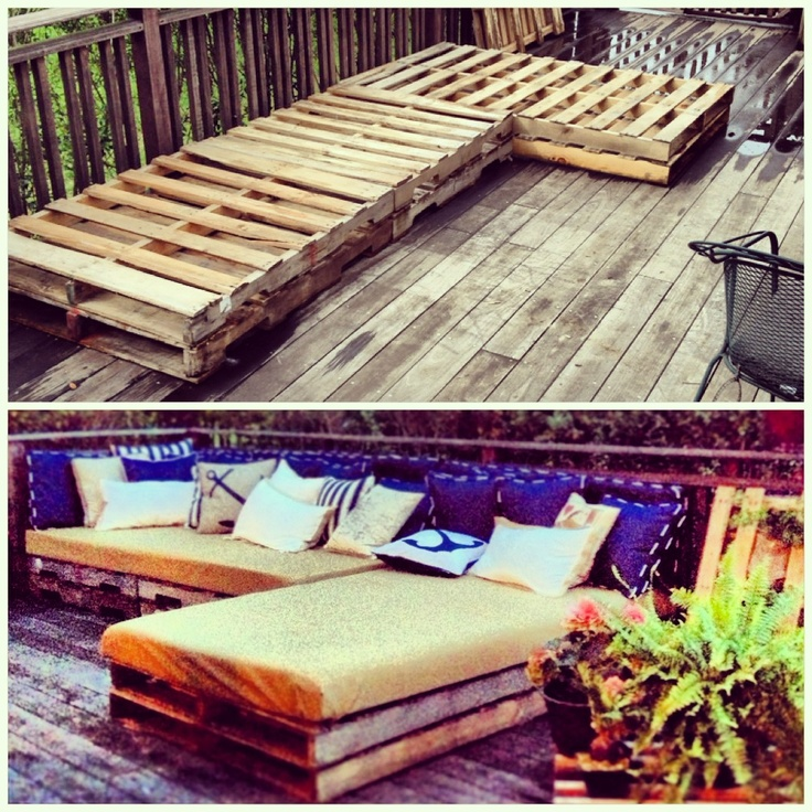 Pallet patio funiture The outdoor couch! Six pallets stacked in twos Two sheets of high density foam cut to fit specific dimensions. Outdoor canvas fabric from Joann's Outdoor pillows from home goods MY FAVORITE PLACE TO NAP AND HANG OUT ON MY DECK.