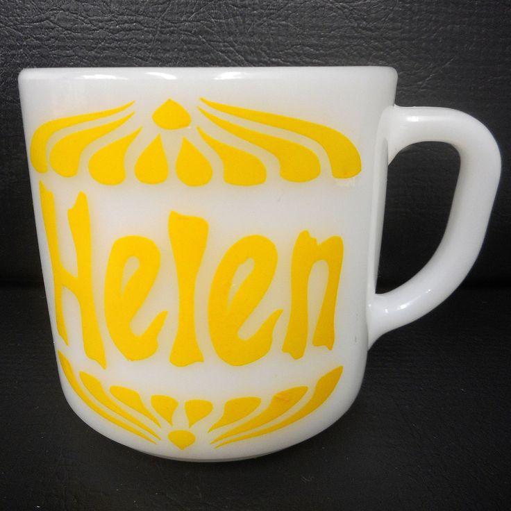 """Vintage Helen Milk Glass Mug 3"""" by Federal Heat Proof, Number 67, Made in USA, Yellow First Name Helen"""