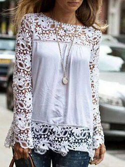Chiffon Casual Crew Neck Lace Paneled Plus Size Blouse