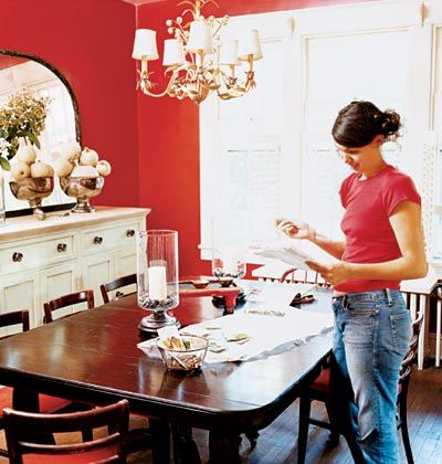 Red Dining Room With Ivory Buffet And Dark Table