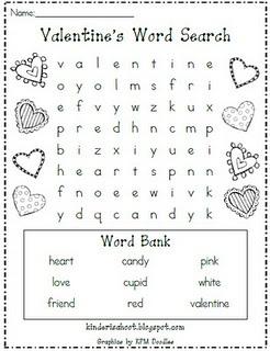 Valentine Word Search (older kids; free)