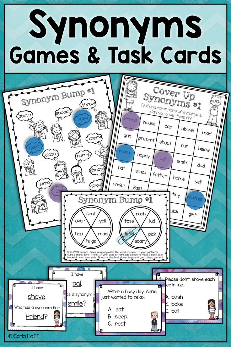 Synonyms Task Cards And Games It S Grammar Time Pinterest