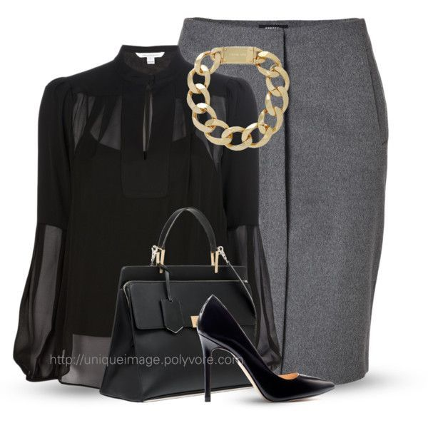 Grey and black classy and on trend outfit. Need a shirt like this in my next Stitch Fix!