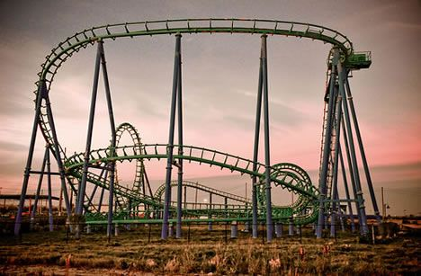 The roller coaster Jester from Six Flags New Orleans - closed and abandoned due to Hurricane Katrina