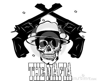 Vector illustration mafia logo with skull and pistol.