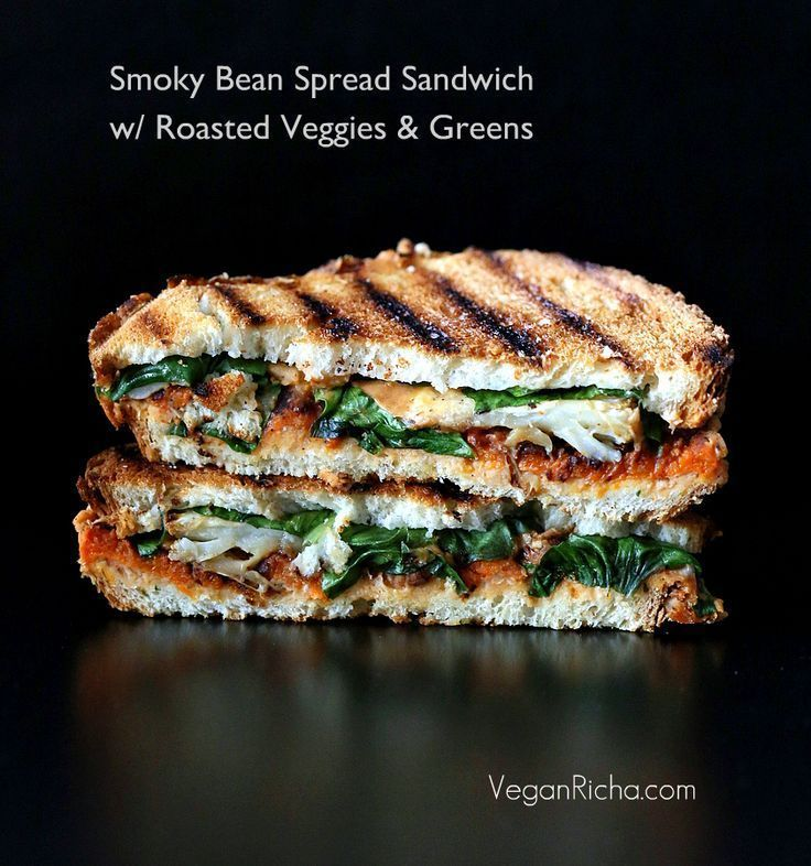 This Smoky Bean Spread Sandwich with Roasted Veggies and Greens is a great vegan fall sandwich!