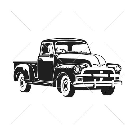 Svg Vintage Car Chevrolet Old Truck Stencil Silhouette Etsy In 2021 Old Trucks Car Silhouette Vintage Cars