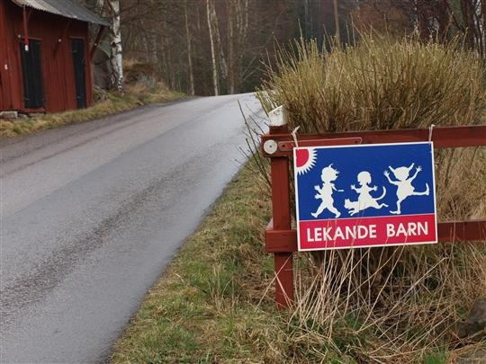 SWEDEN Östergötland In the Scandinavian language the verb comes first, so the sign says playing children