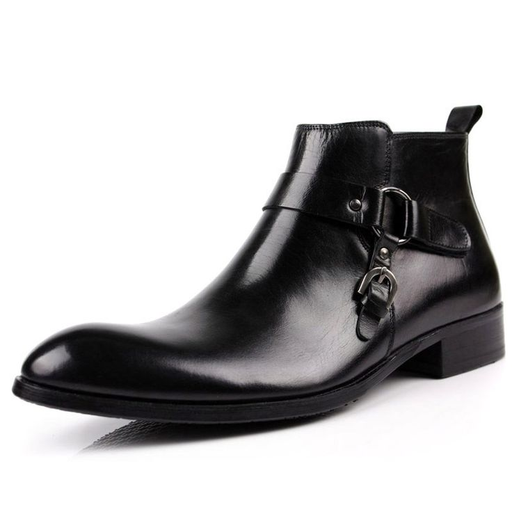 141.28$  Buy now - http://aliu0m.worldwells.pw/go.php?t=32786477626 - Plus Size Spring Men's Chelsea Boots Sale Genuine Leather Ankle Boots Designer Black Handmade Martin Boots Pointed Toe Fashion