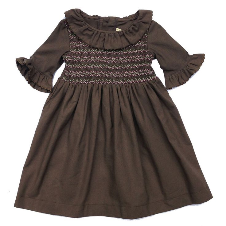 "Ottolie Dress- Brown - Elfie Children's Clothes  ""We absolutely adore these dresses by Elfie, they look really substantial and well made as well. That's what we like to see, clothes with plenty of wearing in them. When your kids have outgrown them then we'd like to find a new home for them and make sure they see a proper lifetime of use. """