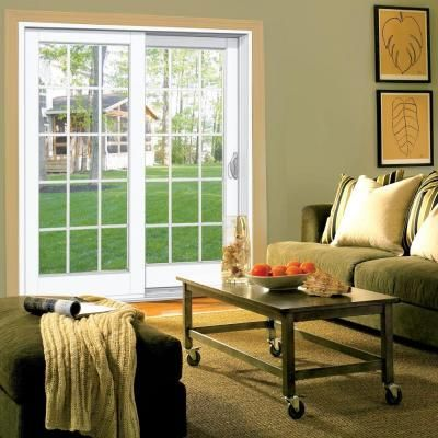MP Doors 60 In. X 80 In. Smooth White Right Hand Composite Sliding Patio  Door With 15 Lite GBG