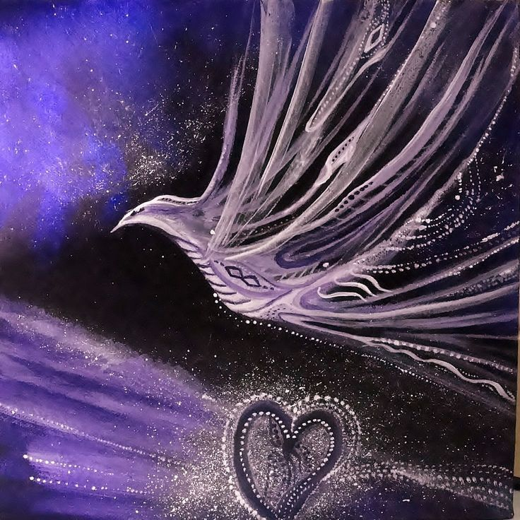SOLD.   Forever loving the spiritual birds evolving within my paintings.   violet for highest vibration