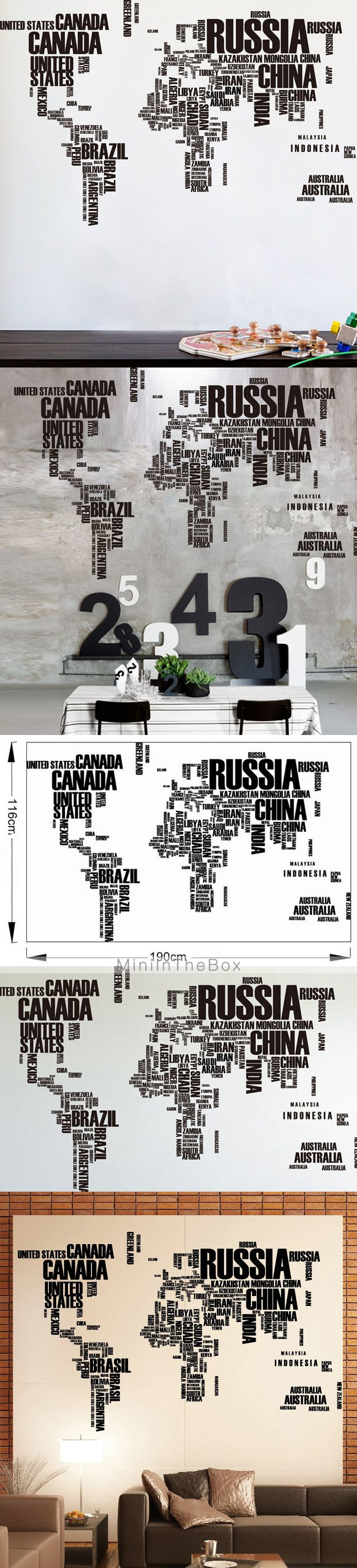 """Muursticker """"Landen van de wereld"""""""