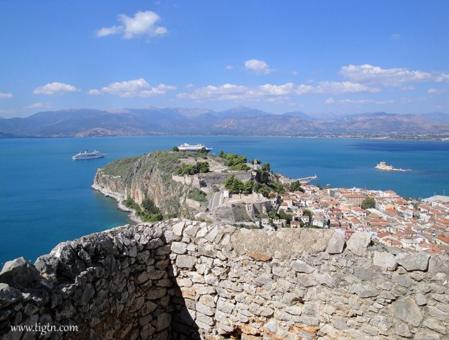 "Worth every single step of the climb. The view from the ""999"" steps to #Palamidi Castle in #Nafplio, #Argolida - #Greece"