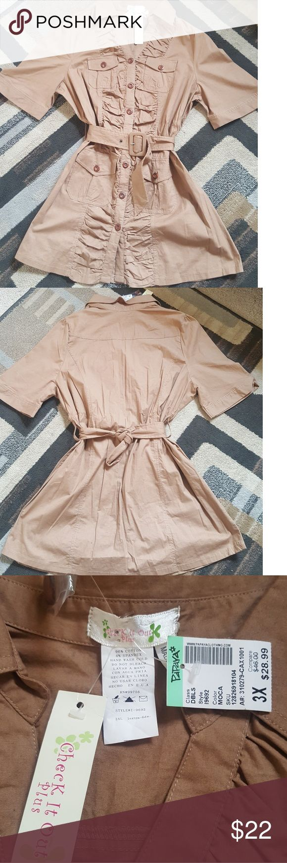 * New* Khaki Plus size Shirt Dress Gorgeous plus size Shirt dress great to wear alone or with leggings, button down  front, adjustable belt, four functioning pockets. Has spandex stretch. 96% cotton, 4% spandex. Tops Button Down Shirts