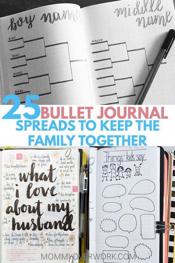 25+ LOVELY Bullet Journal Ideas for Families Bullet