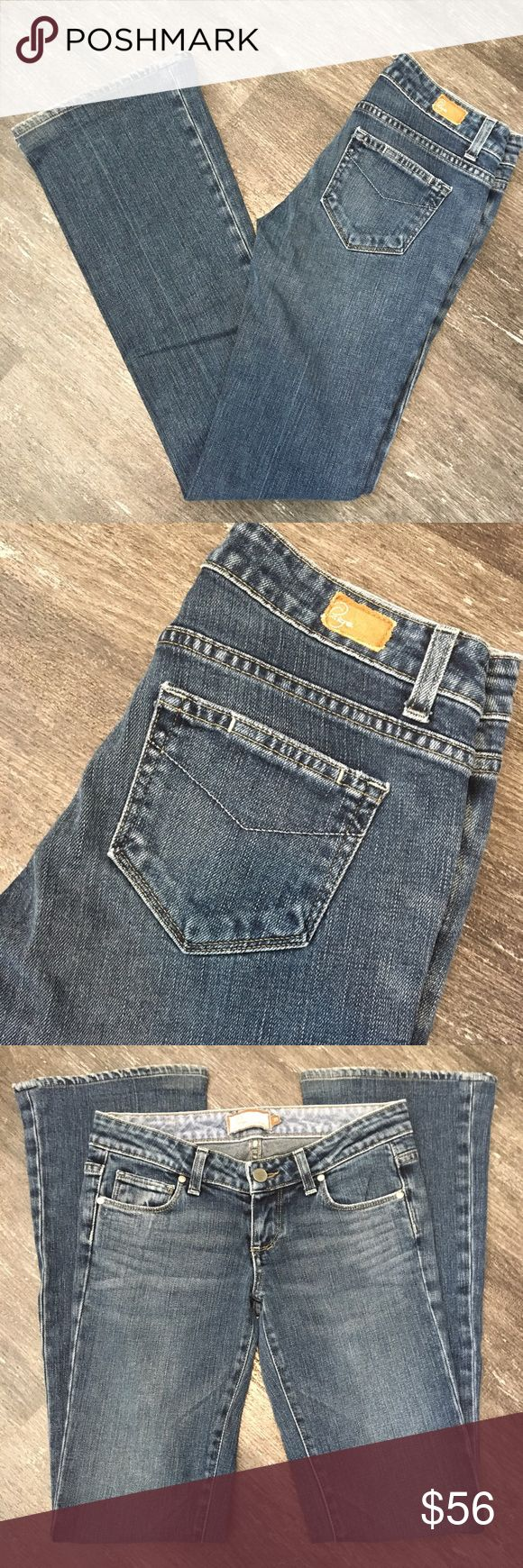 "🎀Paige Premium Denim🎀 Blue boot cut ""Laurel Canyon"" jeans by Paige Premium Denim. Size 25.   Closure: Single Button and Zipper  Material: 98% Cotton 2% Lycra   Measurements Waist: 28"" lying flat, stretches to 30""  Length: 39.5""  Inseam: 32""  Rise: 6.75""  Thigh width circumference: 18""  Leg opening circumference: 18"" Paige Jeans Jeans Boot Cut"