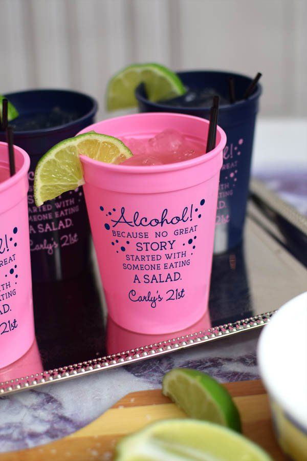 These plastic stadium cups custom printed with the design 'Alcohol! Because no great story started with someone eating a salad' were used for a 21st birthday party to the delight of all the guests. The perfect size for alcohol and mixed drinks, 12 ounce reusable plastic stadium cups are dishwasher safe so guests can take them home to use over and over. These cups can be ordered at http://www.tippytoad.com/personalized-12-oz-adult-birthday-stadium-cups.asp