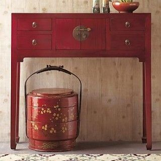 red console table (houzz.com)